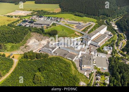 Aerial view, construction brewery C. & A. VELTINS GmbH & Co. KG, Grevenstein, Meschede, Sauerland, North Rhine-Westphalia, Germany, DEU, Europe, birds - Stock Photo