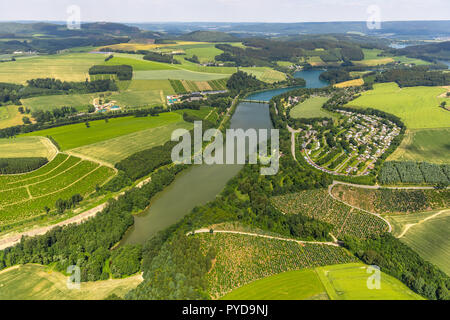 Aerial view, KNAUS Camping Park Hennesee, southern Hennesee, Meschede, Sauerland, North Rhine-Westphalia, Germany, DEU, Europe, birds-eyes view, aeria - Stock Photo