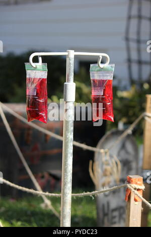 Bags of medical fluid bags full of blood hanging from a holder as creative Halloween lawn decorations. - Stock Photo