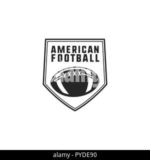 American football logo emblem. USA sports badge in silhouette style. Monochrome logotype design with ball. Stock vector insignia isolated on white background - Stock Photo