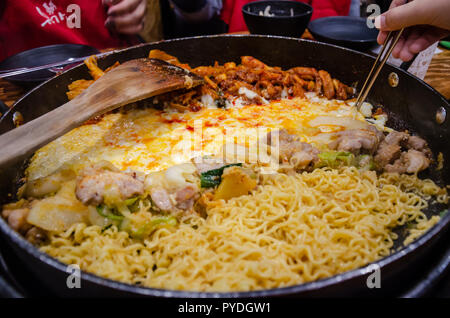 Chicken Galbi or  spicy stir-fried chicken, is a popular Korean dish. - Stock Photo