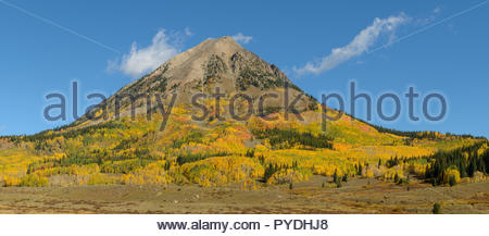 Fall colors come early at 9000 feet in western Colorado. The flanks of Gothic Mountain sport a tapestry of warm colors. - Stock Photo