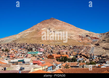 Potosi (UNESCO) in Bolivia - the world's highest city (4070m). view over the city and the colored mountain, Cerro Rico the working silver mines - Stock Photo