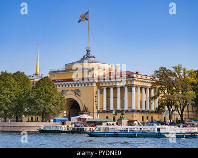19 September 2018: St Petersburg, Russia - The Admiralty, headquarters of the Russian Navy, on the Neva Embankment on a sunny autumn day with clear bl - Stock Photo