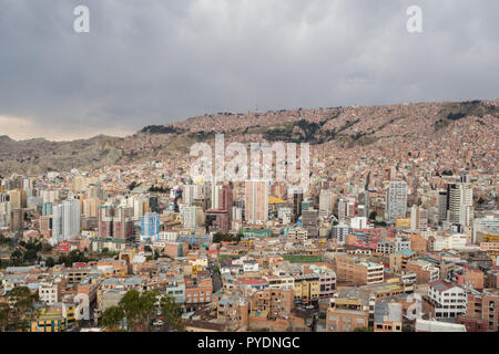 Panoramic cityscape in La Paz in Bolivia. Middle town and the hills of the city - Stock Photo