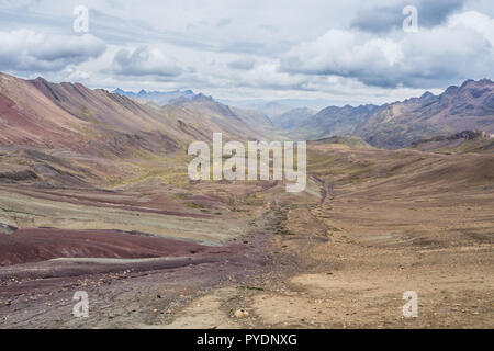 Valley landscape in the Andes, Peru. Climbing the Vinicunga. - Stock Photo