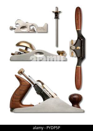 A selection of precision carpentry hand planes on a white backdrop, with drop shadows - Stock Photo