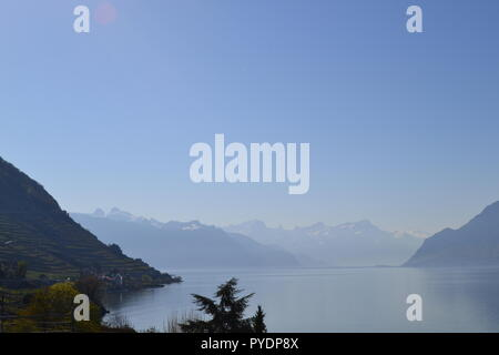 View from near Epesses village, Vaud, looking east down Lake Geneva to Montreux and the Pennine Alps. - Stock Photo