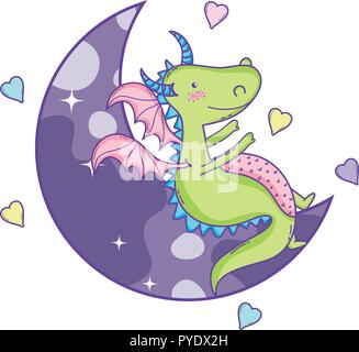Cute dragon on moon - Stock Photo