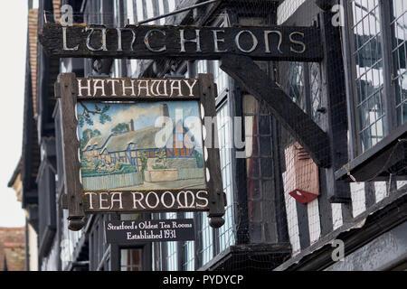 Hathaway tea rooms sign, High Street, Stratford upon Avon, Warwickshire, England - Stock Photo