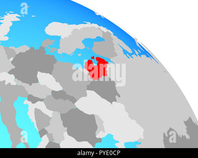 Baltic States on simple blue political globe. 3D illustration. - Stock Photo