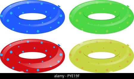 Four swim rings in different colors illustration - Stock Photo