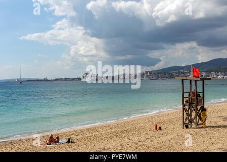 Lifeguard watchtower on the beach - Mallorca, Spain - Stock Photo