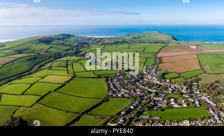 Aerial view over the village of Georgham, North Devon, England - Stock Photo
