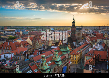 Wroclaw city Poland, aerial view at sunset of the Old Town quarter in Wroclaw with the Town Hall tower visible on the skyline, Poland. - Stock Photo