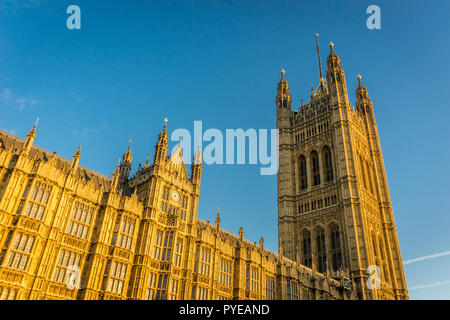 Houses of Parliament, Westminster, London currently undergoing major renovation - Stock Photo