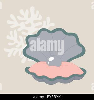 pearl in a shell vector illustration - Stock Photo