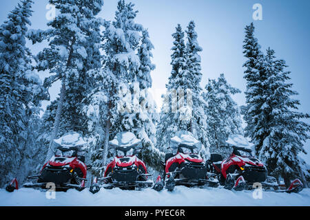 Four brightly colored red and black snowmobiles near Lapland forest. Vehicles parked in line near high firs in Lapland, Finland. Heavy snow on trees a - Stock Photo