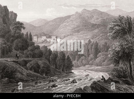 Bonskeid House, Strath Tummel, Perth and Kinross, 19th century, from Modern Athens by Th. H. Shepherd - Stock Photo