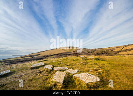 View over the Purbeck Hills near Anvil Point Lighthouse on the South West cost path, Durlston Country Park, Swanage, UK - Stock Photo