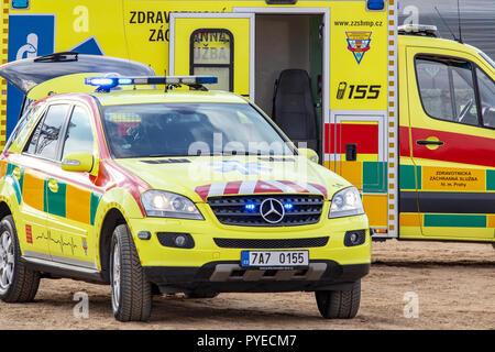 Hasičský záchranný sbor, IZS, Hasiči Praha, integrovaný záchranný systém, Česká republika - Stock Photo