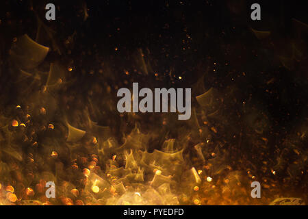 fire flames glowing in dark - Stock Photo