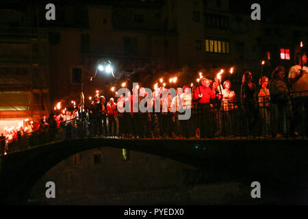 September 2018, torch lit procession in support of the Catalan politicians  who were jailed after the 1.10.17 referendum, Girona, Spain - Stock Photo