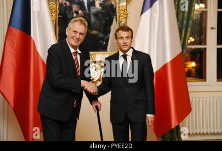 Czech Republic's president Milos Zeman, left, welcomes his French counterpart Emmanuel Macron in Prague, Czech Republic, Friday, October 26, 2018, on  - Stock Photo