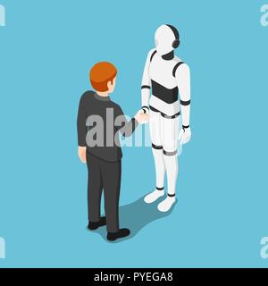 Flat 3d isometric businessman shake hands with ai robot. Future business and artificial intelligent concept. - Stock Photo