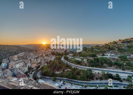 Sunrise at the old baroque city of Ragusa Ibla in Sicily - Stock Photo