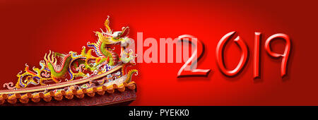 2019 chinese new year greeting card or banner with a dragon - Stock Photo