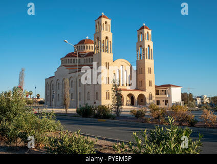View of the Orthodox Cathedral of Agio Anargyroi, Paphos, Cyprus. - Stock Photo