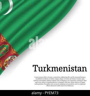 waving flag of Turkmenistan on white background. Template for independence day. vector illustration - Stock Photo