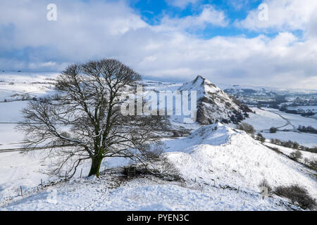 Parkhouse Hill from Chrome Hill in winter snow, Peak District National Park, UK - Stock Photo