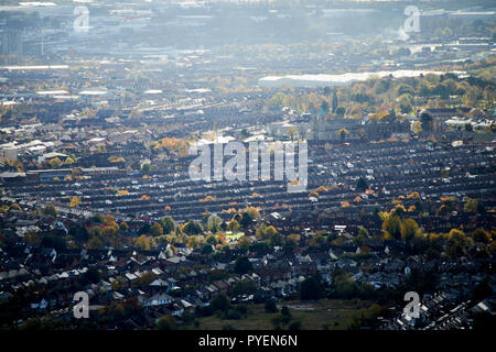 Views over the catholic enclave of Ardoyne in North Belfast Northern Ireland - Stock Photo