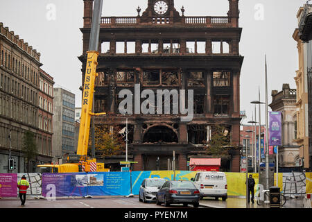 The burned out former Primark bank buildings building and exclusion zone in Belfast city centre northern ireland - Stock Photo