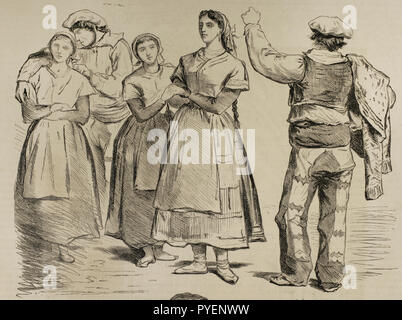 Spain. Types of Basque provinces. Women and men with traditional dresses. Unpublished sketches of Valeriano Becquer. Engraving. La Ilustracion Española y Americana, January 15, 1876. - Stock Photo