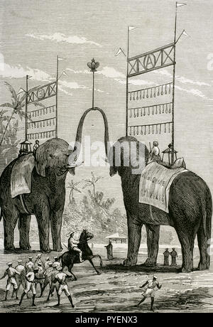 British colonialism. Journey of the Prince of Wales (1841-1910) to India. Later he would become the King Edward VII of the United Kingdom. Triumphal Arch in honour to the Prince of Wales in the city of Colombo, Ceylon Colony (currently Sri Lanka). Engraving by Rico. La Ilustracion Española y Americana, January 22, 1876. - Stock Photo