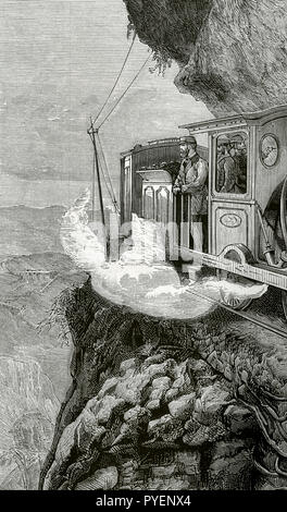 British colonialism. Journey of the Prince of Wales (1841-1910) to India. Later he would become the King Edward VII of the United Kingdom. The prince crossing the mountains of Ghaut (Bhore Ghaut) in a locomotive. Engraving. La Ilustracion Española y Americana, January 22, 1876. - Stock Photo
