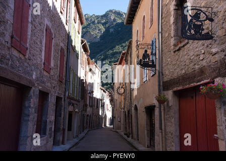Medieval city Villefranche de Conflent in the Pyrenees mountains in France - Stock Photo