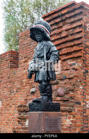 View of Maly Powstaniec, e.g.the Little Insurrectionist, a statue in commemoration of the child soldiers who fought during the Warsaw Uprising in 1944 - Stock Photo