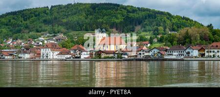 OBERNZELL at the Danube river is an attractive town on the German side of the river which here forms the border between Germany an Austria. - Stock Photo