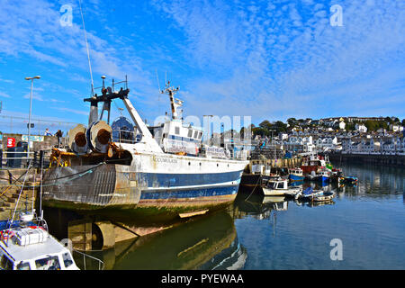 A trawler and assorted other fishing boats tied up along the quayside in the pretty harbour at Brixham, Devon England, UK - Stock Photo