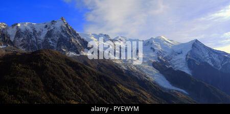 Panoramic view of the Mont Blanc massif. Aiguille du Midi, Mont Blanc and Mont Blanc glacier, Chamonix-Mont-Blanc, France. - Stock Photo