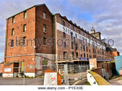 Restoration of the Shrewsbury Flaxmill Maltings continues. Built in 1797, it was the world's first Iron frame building, Shropshire, England, UK.