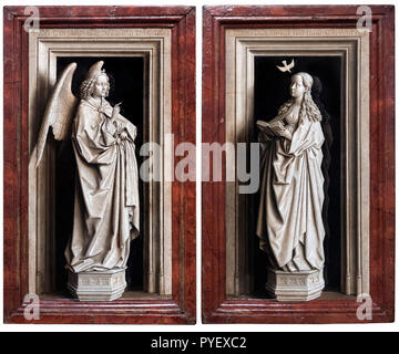 The Annunciation Diptych by Jan van Eyck (c.1390-1441), oil on panel, 1433-35. - Stock Photo