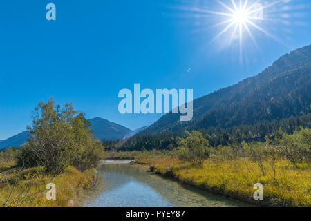 Confluence to the Isar River, Oberisar or Upper Isar, Lenggries, Bavaria, South Germany, Europe - Stock Photo