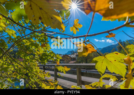 Vorderriss, Isar River, Upper Isar, Vorderriss,  Karwendel Mountains, the Apls, Bavaria, Germany, Europe - Stock Photo