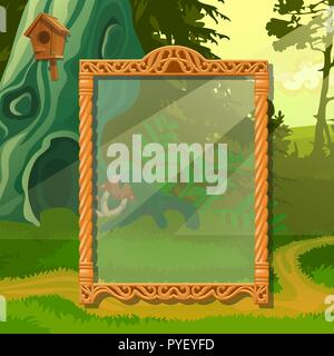 Summer sketch with space for your text on the background of trees in the Park. Sample of greeting card, festive poster or party invitations. Vector cartoon close-up illustration. - Stock Photo