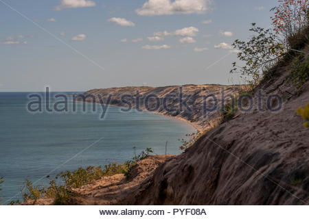 The Log Slide overlook on the western portion of the Grand Sable Dunes in the Pictured Rocks National Lakeshore - Stock Photo